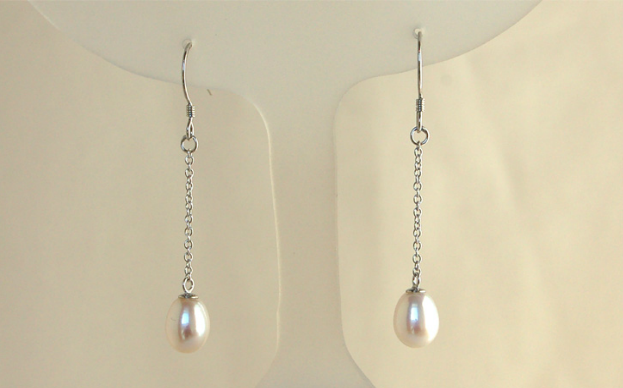 Single Drop Earrings Long White